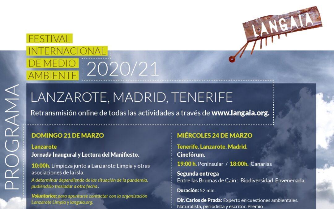 Programa del Festival Langaia 2020/21. Lanzarote, Madrid y Tenerife
